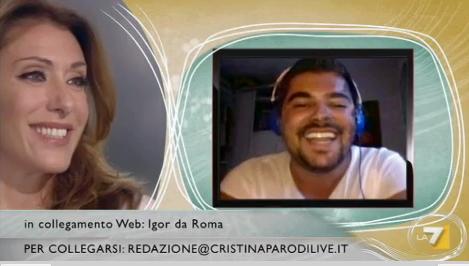 sabrina salerno al cristina parodi live in collegamento con Igor da roma