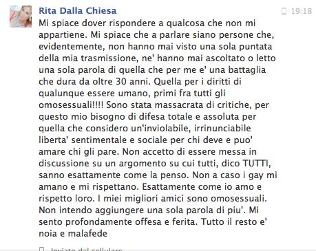 Rita Dalla Chiesa Risposta attacchi omofobia