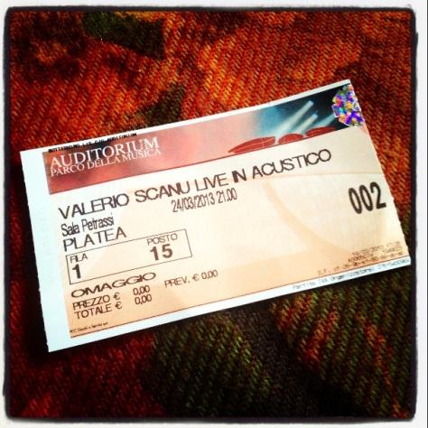VALERIO SCANU LIVE IN ACUSTICO ROMA BIGLIETTO